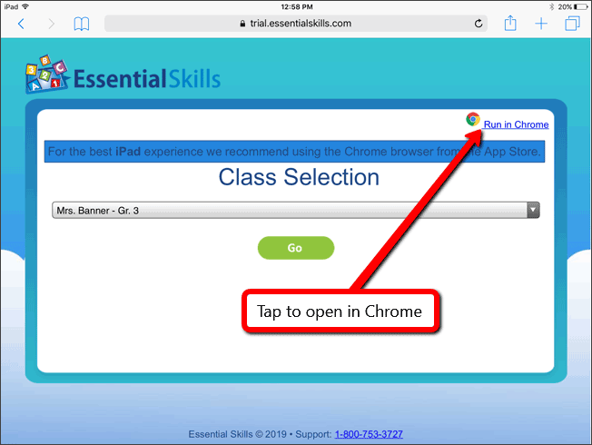 Simplified Student Login on iPad (Trial) | Essential Skills